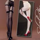 美國selebritee-假吊帶直條造型褲襪2043-黑
