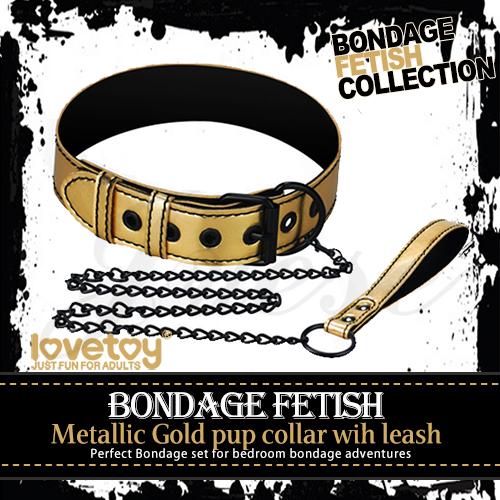 購物滿5500元贈送BONDAGE FETISH SM虐戀霸王皮革鐵鍊頸環-金色