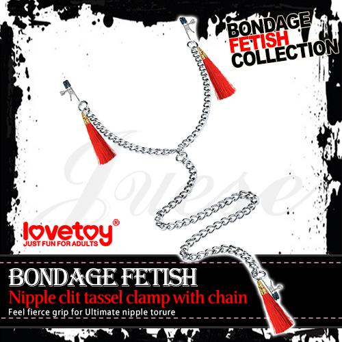 BONDAGE FETISH 三合一流蘇乳陰金屬夾鏈-紅