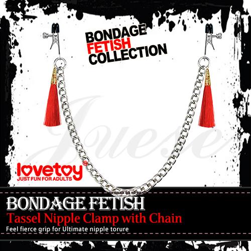 BONDAGE FETISH 流蘇乳頭金屬夾鏈-紅