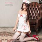 姬情誘惑!裸背五件式吊襪帶護士服(特)