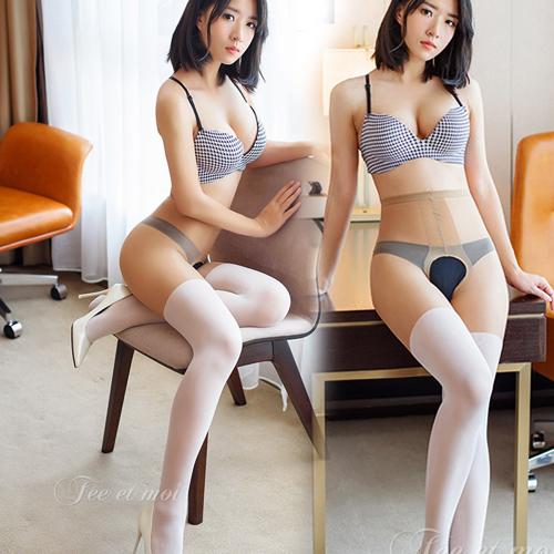 誘惑情人-假拼接下部開檔絲襪 褲襪-白