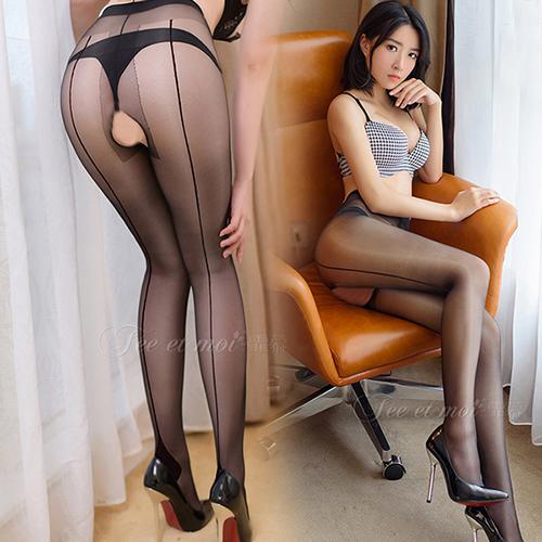 修長腿部曲線-性感背線絲襪褲襪15D(前後開檔)-黑線