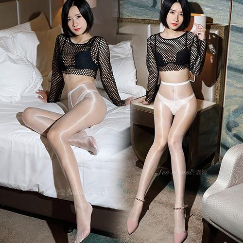 新二代顯瘦閃亮3D柔滑性感全透明絲襪 褲襪(前後開檔)-白