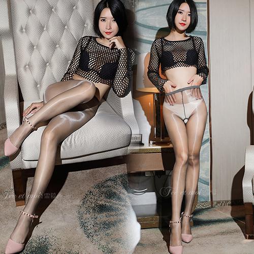 新二代顯瘦閃亮3D柔滑性感全透明絲襪 褲襪(前後開檔)-淺灰