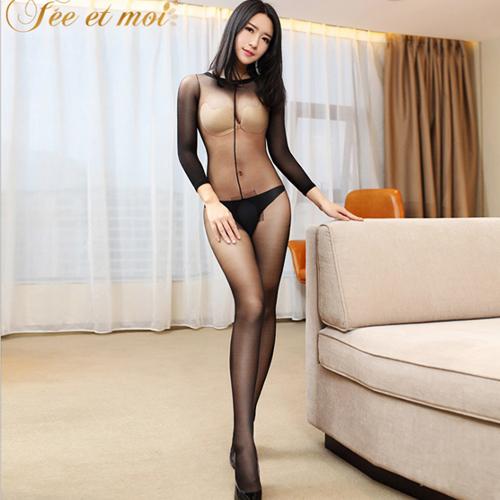 絲絲細柔-性感長袖款連身絲襪貓裝(下部開檔)