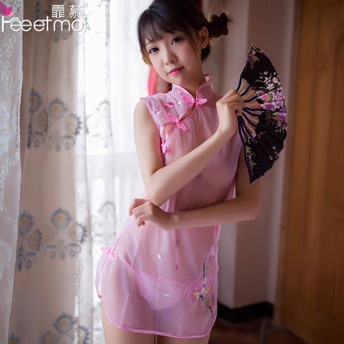 性感透明古典優雅刺繡旗袍套裝+內褲-粉色