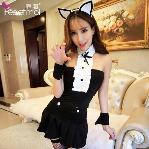 5件組-貓女郎套裝性感制服誘惑-黑