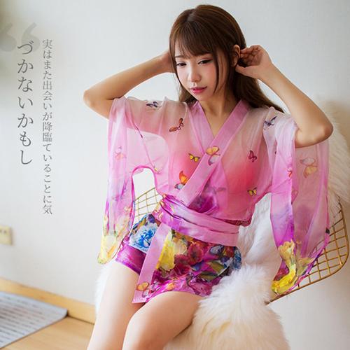 透視印花和服日系制服誘惑性感套裝-粉
