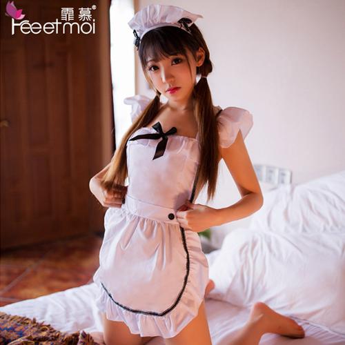 3件組-性感制服誘惑乖巧可愛女僕套裝-白色