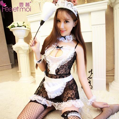 加大版7件組-性感蕾絲女傭裝製服誘惑女僕套裝