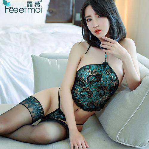 性感蕾絲孔雀刺繡肚兜式角色扮演服-綠