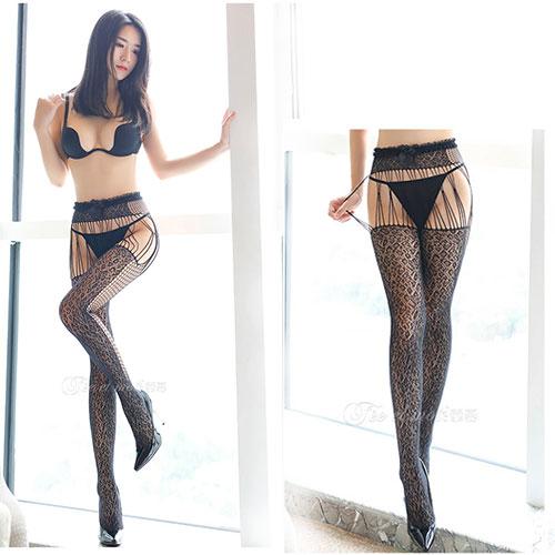 花香含韵-時尚性感蕾絲緹花修身款吊帶襪 褲襪