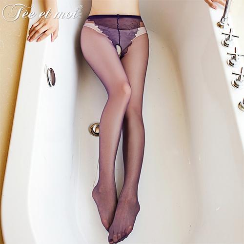 性感比基尼緹花全透明前後開檔絲襪 褲襪15D-紫