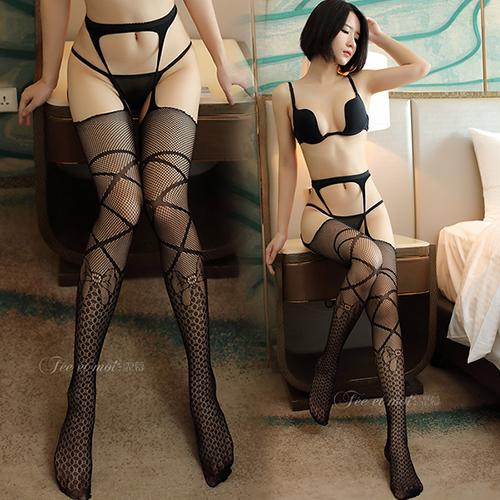 時尚性感蕾絲緹花修身款吊帶襪 褲襪