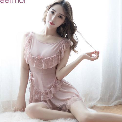 裸背迷情-性感誘惑蕾絲睡衣-粉色