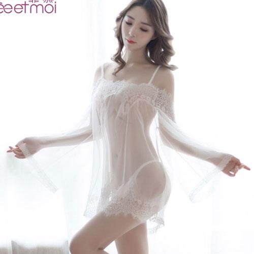 勾引總裁-性感誘惑蕾絲睡衣-白色