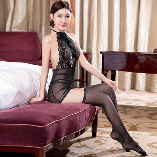 雙星奇緣-性感誘惑蕾絲睡衣-亮絲款