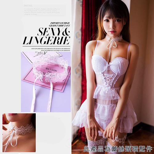 蕾絲性感頸環項鍊精美配件-白