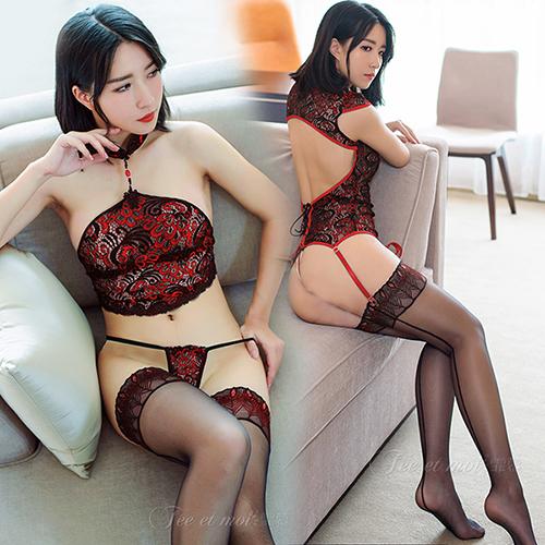 超性感誘惑孔雀花邊背線長筒襪-黑紅