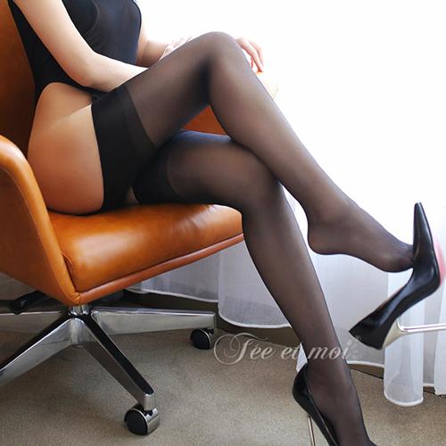 透明長筒襪性感制服誘惑吊帶絲襪-黑