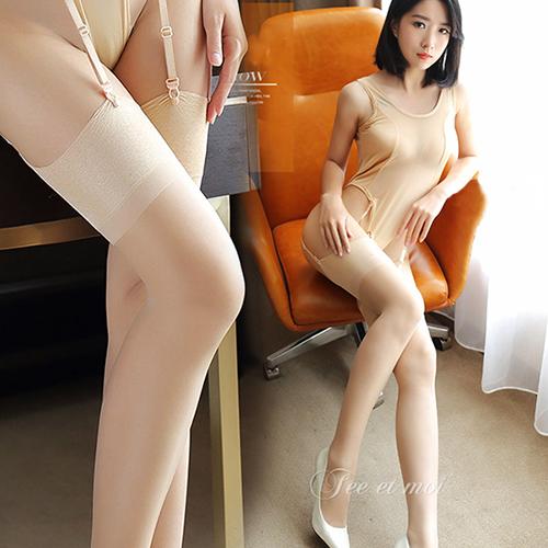 透明長筒襪性感制服誘惑吊帶絲襪-膚
