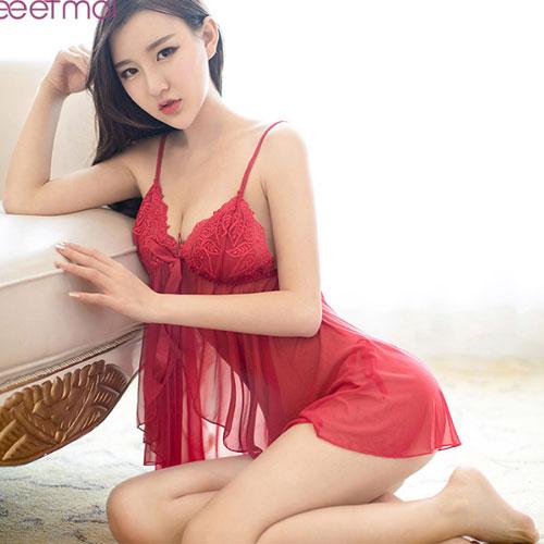 皇家貴族-性感蕾絲睡衣-紅色