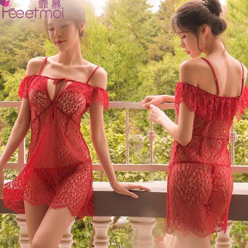 閉月羞花-一字肩性感綁帶睡裙-紅色