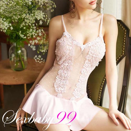 纏綿誘惑-性感蕾絲波點吊帶睡裙-粉色