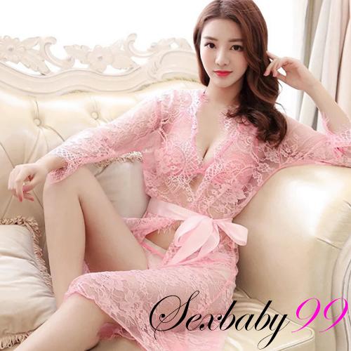 (均碼)3件組-炙熱挑逗-性感透視蕾絲睡袍外罩衫-粉色
