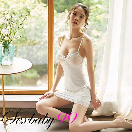 性感挑逗-蕾絲細肩帶軟嫩柔滑款 性感睡衣+內褲-白色