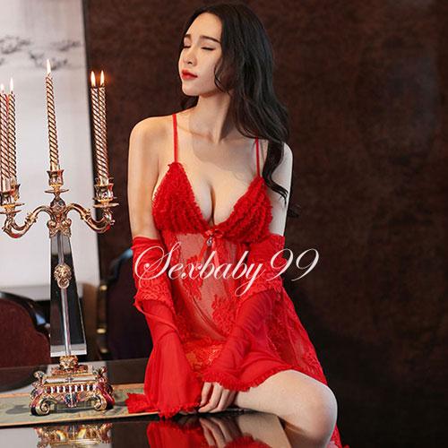 3件式-誘惑之吻-性感低胸蕾絲吊帶睡裙
