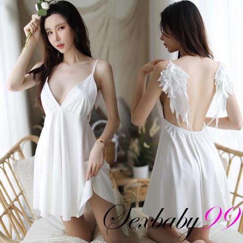 天使霓裳-性感深V立體翅膀吊帶睡裙-白色