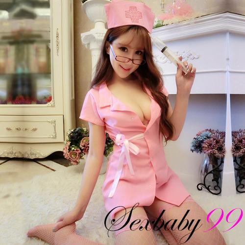 溫柔療癒-性感短裙三件式護士角色服-粉色